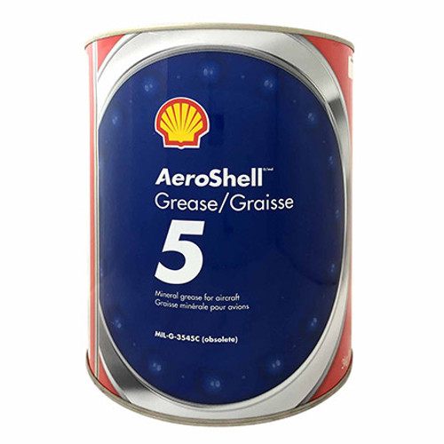 AeroShell™ Grease 5 High-Temperature Mineral Aircraft Grease - 3 Kg (6.6 lb) Can Part#: 550043619by AeroShell™ AeroShell Wheel Bearing and Engine Accessory Grease 5 is a Microgel® thickened, mineral oil base that combines high load-carrying ability with excellent resistance to water and high temperatures.     Used primarily in aircraft wheel bearings and engine accessories operating at high speeds and relatively high temperatures Useful temperature range of -23° C to +177° C