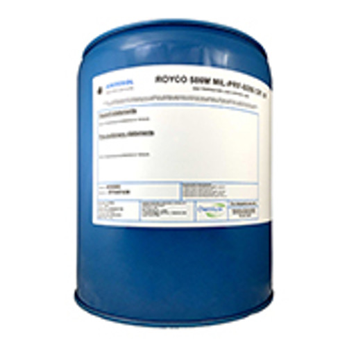 ROYCO® 586M Yellow MIL-PRF-6086 Grade M Spec Mineral Based Gear Lubricating Oil - 5 Gallon Steel Pail - Part#: 4055885by ROYCO® Anderol's ROYCO 586M is a medium grade, highly refined petroleum oil based lubricant formulated with modern additives that offer: oxidation and corrosion protection; high load carrying; antifoaming; and a high viscosity index for both low and high temperature fluidity. ROYCO 586M is best applied to gears exposed to light to moderate load and low to moderate speed applications. In particular, 586M is intended for moderate to warm climates. This item is particularly suitable for the lubrication helicopter gearboxes as well as general-purpose industrial applications requiring an E.P. lubricant for heavily loaded gears. Check the features and specs for more details as well as the MSDS for safe use of this item.  Approvals/References/Specification  NATO Specification: O-153 NATO Specification: O-155 US Military Specification: MIL-PRF-6086F Grade M