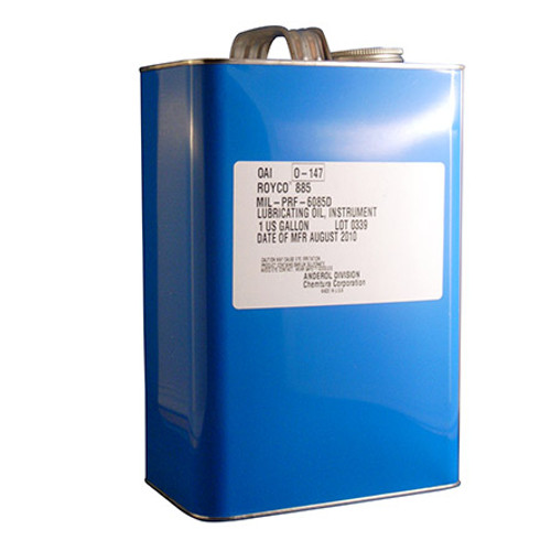 ROYCO® 885 Amber MIL-PRF-6085E Spec General-Purpose Instrument Lubricating Oil - Gallon Can / Part#: 4055873by ROYCO® ROYCO 885 is a light, synthetic based lubricating oil containing additives for oxidation and corrosion inhibition, anti-foaming, and rust protection. This fluid has very low volatility and exceptional low temperature performance as well. ROYCO 885 is designated as P-17 under Military Standard Mil-P-116G, Mil-PRF-6085, as well as Boeing Material Specification, BMS 3-7.