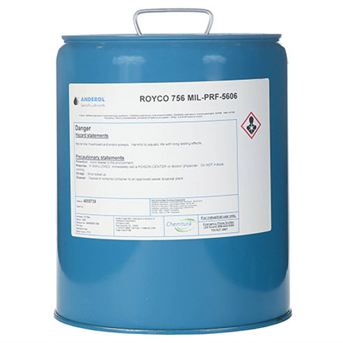 "ROYCO® 756 Red MIL-PRF-5606H Amend. 3 Spec Mineral Oil Based Aircraft Hydraulic Fluid - 5 Gallon Steel Pail - Part#: 4055739by ROYCO® Royco 756 is a red-dyed, mineral oil based hydraulic fluid developed for the severe duty demands of aerospace and industrial service. Royco 756 contains additives that provide excellent low temperature fluidity as well as exceptional anti-wear, oxidation/corrosion inhibition and shear stability. Additionally, metal deactivators and foam inhibitors are provided in this high viscosity index fluid to enhance performance in many general purpose hydraulic applications.     Features and Benefits:    Wide operating temperature range Low temperature fluidity Exceptional anti-wear performance ""Super clean"" fluid to improve equipment life Excellent oxidation and corrosion inhibition    Applications:  Uses requiring all-weather performance Use in systems where a ""super clean"" fluid can contribute to improved component life and reliability Use in unpressurized systems operating at temperature ranges from -54 to 90°C (-65 to 195°F) Use in pressurized systems from -54 to 135°C (-65 tp 275°F) at pressures up to 3000 psi Use in systems not requiring the a ""super clean"" ID Use in systems where the convenience of a re-sealable container can provide cost savings  Approvals and Specifications:  Meets all the requirements and is qualified under MIL-SPEC: MIL-PRF-5606H(3) that supersedes Mil-H-5606G, Mil-O 5606, AN-O-336, AN-VV-O-336 and AAF-3580 Meets the technical requirements of Mil-H-5606A"