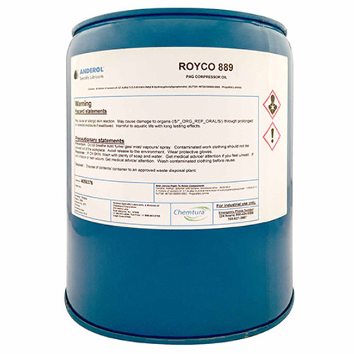ROYCO® 889 Amber Synthetic Compressor Lubricant - 5 Gallon Steel Pail - Part#: 4056376by ROYCO® ROYCO 889 is a synthetic-based lubricant formulated for use in gas compression applications that require wide operating temperature ranges and minimum interaction between the lubricant and the process gas. ROYCO 889 is intended for the lubrication of flooded rotary screw and vane-type compressors processing natural gas, carbon dioxide, or other hydrocarbon gases. ROYCO 889 may also be used as a cylinder lubricant for reciprocating compressors processing natural gas, carbon dioxide and other gases that require chemical resistance in an ISO 150 viscosity grade.  COMPATIBILITY  Recommended: Acetone, Alcohol, Asbestos, Butyl Dioxtol, Chlorinated Solvents, Glycol Ether, Neoprene, Epoxy Paint, Silicone Rubber, Toluene, Torlon (AMOCO), Vespal (DuPont), and Viton (DuPont). Questionable: Ethylene Glycol, Triethanolamine, and Water. Not Recommended: Gasoline, Glycerol, Heptane, Kerosene, Leather, Methanol, and Oil-based paint.