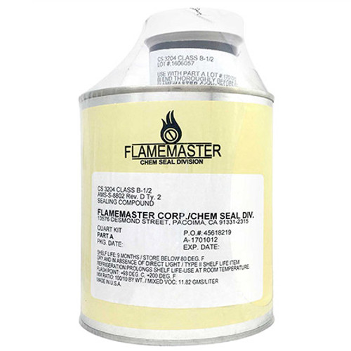 Flamemaster Chemseal Door Sealant-Pint Part # CS3330B2PT by Flamemaster Corp. Flamemaster CS3330B2PT Chemseal Door Sealant-Pint. A low adhesion access door and panel sealant for integral fuel tanks and pressurized cabins, as a strippable fillet, and as a gasket for removable parts. A two-part, polysulfide compound designed to seal faying surfaces where easy separation of joint surfaces is required. Itcures by a chemical reaction at room temperature to a firm, flexible rubber. Cured CS 3330 has low adhesion and forms a fuel resistant gasket that molds itself to fill all irregularities between two surfaces. Mixed, CS 3330 is a red paste of brushable consistency. The cured sealant is resistant to aircraft fuels, lubricants, oils, water, and weather and remains flexible at low temperatures.  Integral Fuel Tank Sealant - Meets AMS-S-8802, Type II, Class B 1/2 Sealant. Designed to withstand the attck of sulfur compounds present in jet fuels. Also used as a pressurized cabin sealant. Alternates with PR-1440, PS1440, PS-890, and MC-236.Type II, Class A 1/2 Sealant.
