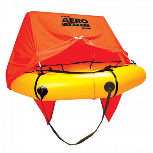 Revere Survival Aero Compact 2 w/ canopy / 45-AC2VP 2 person Aero Compact Liferaft with canopy Ideal for general aircraft, the compact and lightweight Aero Compact™ offers an enhanced level of safety for over-water flights. With double 200 lb. SuperRev ballast pockets, the Aero Compact enhances stability in the roughest of sea conditions. Its light weight allows for easy deployment,and the compact size makes stowage easy even in the smallest of spaces.  Life Raft is Non FAA Approved 5-Year limited Warranty on All Revere Aero CompactsTM  Valid only with:  Required initial service 2 years after purchase; annual service intervals thereafter Service performed by Revere Supply Inc. – certified service stations Proper installation and use in accordance with Revere Owner's Manual Warranty registration