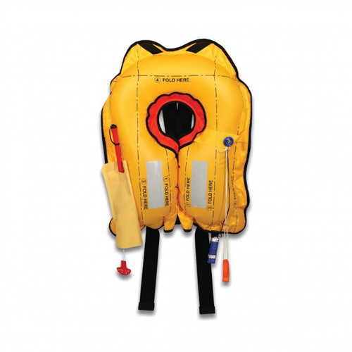 Eastern Aero Marine Vests – Bravo Series Life Vest FAA TSO-C13f Approved / P01190-101R Bravo Series Life Vest FAA TSO-C13f Approved This continuous wear, yoke style life vest is ideal for helicopter pilots or anyone flying long distances over open water. The Bravo's compact, lightweight design includes a 2-inch, extra wide, waist strap for comfort and security. Equipped with water-activated light, retro-reflective tape and a whistle. Optional storage pouches attach to the waist strap to hold signal kit or EPIRB. Easy fold lines for repackaging.