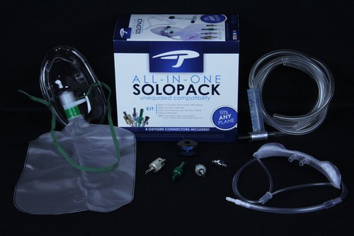All-in-One SOLO Pack with A-5 Flow Meter / ALLIN1SOLO  Take the guesswork out of oxygen compatibility! The All-in-One Solo Pack is an all-inclusive oxygen kit for the passenger or pilot. The Solo Pack includes our All-in-One Connector kit, allowing you to connect to virtually any aircraft. The complete pack includes: Standard Face Mask, Oxymizer Cannula, FLOWGLOW (to illuminate flow meter in the dark), A-5 Flow Meter with tubing and Connector Kit. All oxygen hardware comes with Precise Flight's premier lifetime warranty.