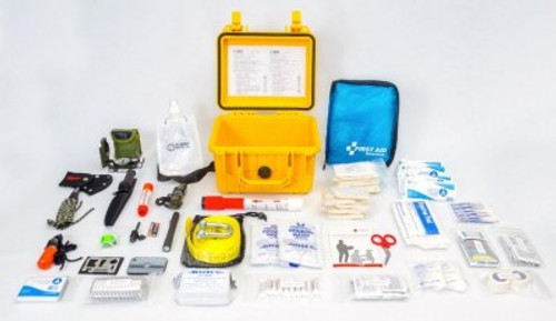 FLIGHT LEVEL 220 SURVIVAL KIT FAA DELUXE / 13-15958 Flight Level 220 is a brand built on the importance of having the proper equipment in an emergency situation. Safety and survival start with preparedness; we make this easier by providing high quality first aid and survival products incased in durable materials to survive the elements.  Our products are designed by pilots with many hours of experience, with the understanding of safety in the forefront of all operations. Our team also consists of emergency and medical professionals that are on the front lines for first responders. Together we designed FL220 family of products to meet or exceed all aviation regulations.  Quality and integrity in our products and service are the most important part of our business. We stand behind our products and support our customers around the world. Aviation safety is our passion and mission. We strive to make your next flight better prepared with more confidence in your safety.  The FL220 Expanded Survival Kit was design to exceed all expectations for safety and survival. Equipped for commercial or general aviation aircraft, it stands ready for any situation. FAA FAR 91, 121, 135 - INAC