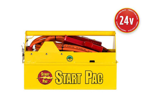 This 24V All-In-One air portable/carry-on START PAC® with built-in chargers, power plug and cables is ideal for starting aircraft, tank, and military truck engines. It is designed for engine starting only.