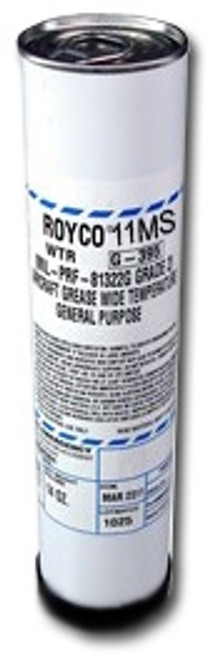 ROYCO® 11MS is a smooth, gray-black colored grease which utilizes an inorganic gel thickener for high temperature operation. <./p>  A modern additive package is provided containing molybdenum disulfide for high load carrying ability as well as corrosion and oxidation protection, rust inhibitors, and severe duty performance over extreme temperature ranges.