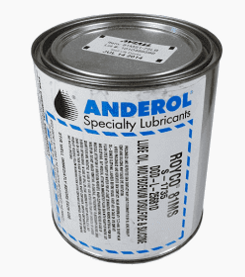 The Royco 81MS gray MIL-DTL-25681E is a synthetic high-temperature lubricant. It comes in a 1.75 lb steel can.   Benefits Reduces equipment wear Reduces parts from seizing at high temperature Specifications at 100 degrees C: 21 at 40 degrees F: 75 Viscosity Index: 305 Flash Point,°F(°C): 625 (329) Color, Base oil, ASTM D-150: 0.5 Molybdenum Disulfide, wt.%: 50.0