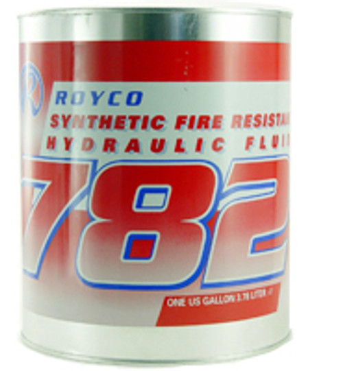 """ROYCO® 782 Red MIL-PRF-83282D Spec Synthetic Fire Resistant Aircraft Hydraulic Fluid -  Gallon Steel Pail - Part#:  4055789 by ROYCO®  ROYCO 782 is a red – colored """"Super Clean"""", synthetic hydraulic fluid developed to meet the severe duty demands of today's military and industrial equipment. Modern additive technology is employed for oxidative stability, corrosion inhibition, and antiwear protection. ROYCO 782 is compatible with petroleum-based fluids and all components used in mineral oil type hydraulic systems. ROYCO 782 is intended for use in severe duty applications requiring both low and high temperature operation, extended time periods between service intervals, excellent shear stability, water demulsibility, and the safety factor afforded by the use of a synthetic fluid. ROYCO 782 is recommended for use in aircraft, missile, and ordnance systems using synthetic sealing materials as well as in heavy-duty construction equipment, and industrial robotic hydraulic systems. ROYCO 782 is suitable for use in applications operating at temperatures from -40°C to 205°C. This product is especially recommended for use where the high flash point provides added safety margins.  Approvals/References/Specs  NATO Specification: H-537 US Military Specification: MIL-PRF-83282D Amend 1 US Military Specification: MIL-H-83282"""
