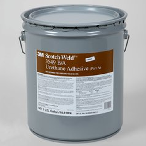 3M Scotch-Weld 3549 5gal White 7100041737 / 7100041737 3M 3549 is a two component, room temperature cure, polyurethane adhesive that forms a tough, impact resistant structural bond.