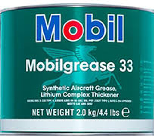 Mobilgrease 33 is a high-performance lithium-complex grease designed for general-purpose aircraft use. Its consistency is between the NLGI grades 1 and 2. Mobilgrease 33 utilizes a 100% polyalphaolefin base oil and premium additives which ensure outstanding lubrication performance over a wide temperature range and operating conditions.  SAE Spec#:AMS 3052