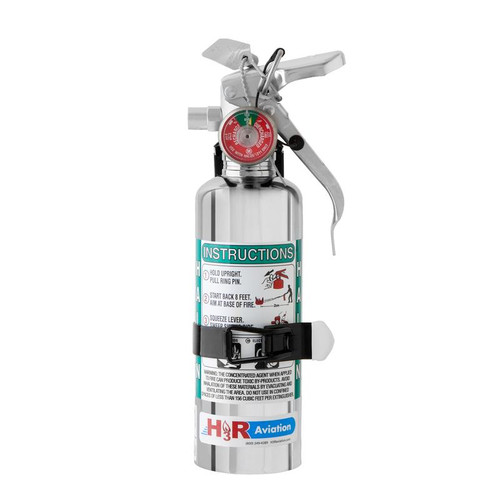 H3R 1.25 lb. Chrome Halon 1211 Fire Extinguisher Part #A344TC by H3R The A344TC is our smallest chrome Halon 1211 fire extinguisher. The A344TC is identical to the A344T except that it has a classy, durable chrome finish. Instantly enhances the look of any interior. Recommended for a 1-4 person aircraft, including the pilot. NOTE: Ships to contiguous US only. No overnight/expedited/air shipping due to Hazmat limitations.