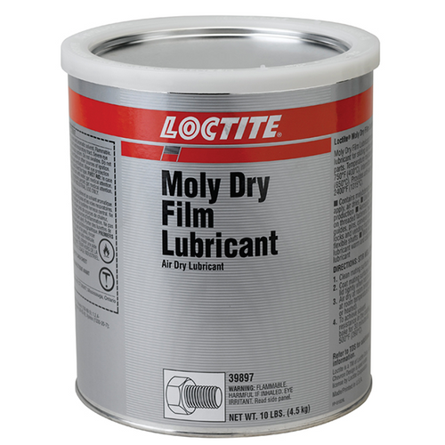 Henkel Loctite® 8017 Moly™ Dry Film Lubricant Gray, 10 lb can Part # 39897 by Loctite  Henkel Loctite® 8017 Series lubricant is gray in color and comes with a boiling point of 169 to 336 degrees F, flash point of 29 degrees C and a specific gravity of 1.5103 to exhibit good lubricity. This characteristic odored, liquid lubricant has 48.79%, 637 grams per liter VOC contents that take 60 minutes for curing. It comes in a 10-pound can. This lubricant has a temperature rating of up to 750 degrees F.
