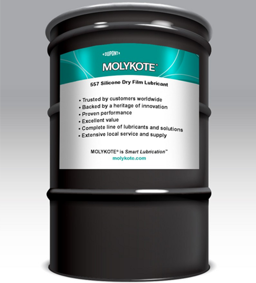 Dow Corning 557 MOLYKOTE 557 CLEAR DRY FILM LUBRICANT 160 KG DRUM Part # 131817 by Dow Corning  MOLYKOTE 557 is an air curing, extreme pressure, wax-like, silicone-based coating that is used to improve surface finishes, increase the life of equipment, lubricate sliding surfaces, and reduce wear, sticking, and friction. It is non-staining, colorless, and leaves a thin, dry film.