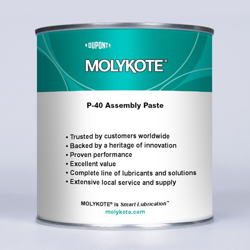 MOLYKOTE® P-40 ANTI-SEIZE PASTE 2.21 Pound Part # 131779 by Dow Corning Molykote® P-40 is a metal-free adhesive lubrication paste which can be used for all assembly and continuous lubricating jobs, particularly those exposed to corrosive environments such as splash water or humidity. A PAO based anti-seize paste formulated with solid lubricants such as white solids. Metal-free adhesive lubrication paste which can be used for all assembly and continuous lubricating jobs, particularly those exposed to corrosive environments such as splash water or humidity.