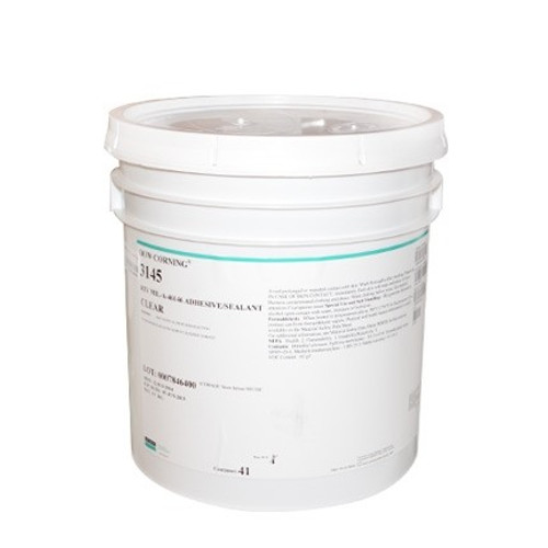 Dowsil 3145 RTV Clear 19 KG Pail Silicone Adhesive Sealant MIL-A-46146 Part # 2298112 by Dow Corning. Dowsil RTV 3145 4.5 Gallon Pail Clear MIL-A-46146 is a no mix required, high strength, room temperature cure, no sag silicone adhesive/sealant designed for yoke and printed wire board or PCB assembly and is often used by pilots as an aviation sealant for aircraft repairs on various airplane area's including openings and cracks in metal casings. Dow 3145 RTV Clear in 4.5 GL (19 KG Pail) size offers high tensile strength, high tear strength, high elongation, and adheres well to glass, metals, ceramics, silicone rubber, and many plastics. DC 3145 has heightened thermal stability, remains stable from -45C to +200C (higher for grey version), and has excellent dielectric properties. This high strength bonding silicone RTV is non-flow and offers primer-less adhesion, vibration resistance, moisture protection, and helps materials resist thermal and mechanical shock. RTV 3145 Tube meets Mil Spec requirements and works well for sealing housings, modules and electrical leads. RTV 3145 Clear and RTV 3145 Gray, used for sealing openings in housing and modules, sealing around electrical wires and leads while also offering mechanical stability to circuits components in the assembly of PWBs. This nonflowing RTV offers high tensile strength with elongation, peel, and lap shear values.