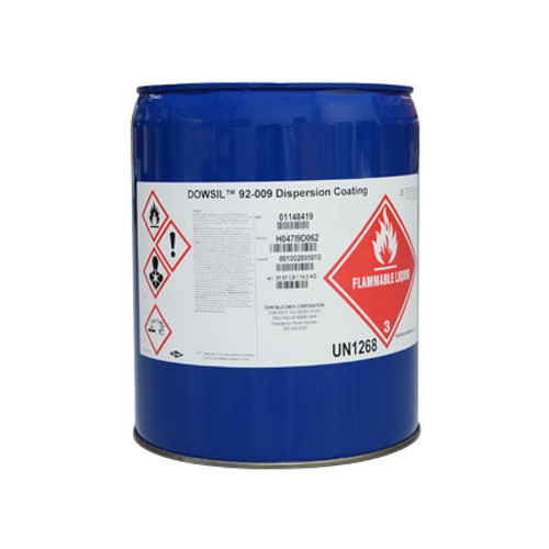 DOWSIL 92-009 CLEAR DISPERSION COATING 32 LB PAIL Part # 1148419 by Dow Corning DOWSIL 92-009 is well suited to protect parts and substrates on aircraft, missiles, rockets, and launch equipment from eroding. DOWSIL 92-009 is a single component, air drying, clear, silicone rubber designed for sealing and protecting equipment on electrical cables, rockets, aircrafts, fan blades, and engine cases. The material is resistant to weathering, moisture, and UV radiation. It provides excellent anti-abrasion, release, and tearing characteristics.