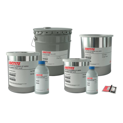 HYSOL EA 9309 NA GL KIT HA1036465 Part # 1036465 by Henkel Henkel 9309NA is a two component, RT cure, toughened adhesive. LOCTITE® EA 9309NA AERO is a toughened adhesive ideal for bonding metal, wood, plastics and glass. Bonds are flexible and resist water, salt spray and most common fluids. Its outstanding feature is excellent peel strength to aluminum.