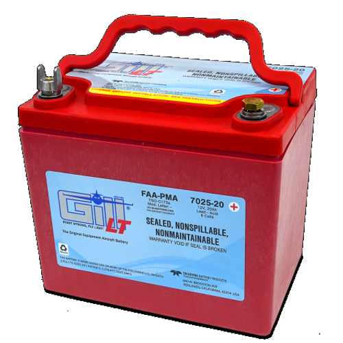 Gill® LT Valve Regulated Sealed Lead Acid Aircraft Battery 7025-20, 12V, 20Ah part # 7025-20 by Gill battery GillBatteries are the original equipment aircraft battery. They offer the better performing sealed lead acid battery that is fast becoming the choice in a growing list of airframe manufacturers. The 7025-20 is a 'sealed lead acid Battery upgrade' to the popular Gill G-25 Maintenance Free-Shipped Fully Charged and No Electrolyte or Water Required Non-Spillable and Proven for Aerobatic Maneuvering 2 Year Factory Warranty After Installation Robust Starts, Higher Residual Power & Faster Re-Charge Times First Capacity Check Not Required Until 18 Months/1800 Hours Cost Competitive and Best Shelf Life in Lead Acid Chemistry Advanced Valve Regulated Lead Acid (VRLA) Design FAA/PMA Approved, TSO Authorized and Tested to DO-160E LT Series Batteries Are Fully Recyclable LT Series Batteries Ship Hazmat Exempt Start strong with the Gill 7025-20 for your 12V piston powered aircraft. Product Type:Batteries Battery Type:Sealed Lead Acid Voltage:12V 7025-20