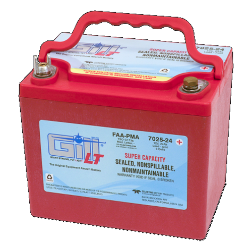Gill Sealed Battery Super Ah Capacity NON-SPILLABLE Part # 7025-24 by Gill Battery  The 7025-24 is a 'sealed lead acid Battery upgrade' to the popular Gill G-25 Maintenance Free-Shipped Fully Charged and No Electrolyte or Water Required Non-Spillable and Proven for Aerobatic Maneuvering 2 Year Factory Warranty After Installation Robust Starts, Higher Residual Power & Faster Re-Charge Times First Capacity Check Not Required Until 18 Months/1800 Hours Cost Competitive and Best Shelf Life in Lead Acid Chemistry Advanced Valve Regulated Lead Acid (VRLA) Design FAA/PMA Approved, TSO Authorized and Tested to DO-160E LT Series Batteries Are Fully Recyclable LT Series Batteries Ship Hazmat Exempt  Start strong with the Gill 7025-24 for your 12V small piston powered aircraft.  Product Type:Batteries Battery Type:Sealed Lead Acid Voltage:12V 7025-24