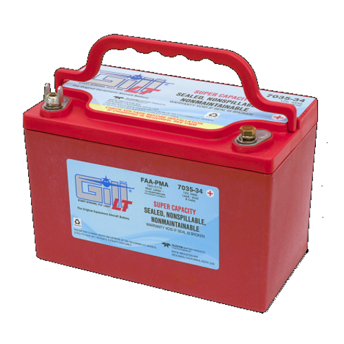 Gill Sealed Battery Super Ah Capacity NON SPILLABLE Part # 7035-34 by Gill Battery The 7035-34 is a 'sealed lead acid Battery upgrade' to the popular Gill G-35 Maintenance Free Shipped Fully Charged and No Electrolyte or Water Required Highest Ampere Hour (AH) rating in the 35 group. Non-Spillable and Proven for Aerobatic Maneuvering 2 Year Factory Warranty After Installation Robust Starts, Higher Residual Power & Faster Re-Charge Times First Capacity Check Not Required Until 18 Months/1800 Hours Cost Competitive and Best Shelf Life in Lead Acid Chemistry Advanced Valve Regulated Lead Acid (VRLA) Design FAA/PMA Approved, TSO Authorized and Tested to DO-160E LT Series Batteries Are Fully Recyclable LT Series Batteries Ship Hazmat Exempt Product Type:Batteries Battery Type:Sealed Lead Acid Voltage:12V 7035-34