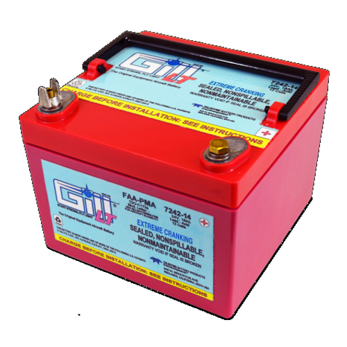 Gill® LT Valve Regulated Sealed Lead Acid Aircraft Battery Extreme Cranking Power , 24V, 14Ah Part # 7242-14 by Gill Battery Gill® Batteries are the original equipment aircraft battery. They offer the better performing sealed lead acid battery that is fast becoming the choice in a growing list of airframe manufacturers. The 7242-14 is a 'sealed lead acid Battery upgrade' to the popular Gill G-242 Maintenance Free-Shipped Fully Charged and No Electrolyte or Water Required Non-Spillable and Proven for Aerobatic Maneuvering 2 Year Factory Warranty After Installation Robust Starts, Higher Residual Power & Faster Re-Charge Times First Capacity Check Not Required Until 18 Months/1800 Hours Cost Competitive and Best Shelf Life in Lead Acid Chemistry Advanced Valve Regulated Lead Acid (VRLA) Design FAA/PMA Approved, TSO Authorized and Tested to DO-160E LT Series Batteries Are Fully Recyclable LT Series Batteries Ship Hazmat Exempt Start strong with the Gill 7242-14 for your 24V Cessna, Piper, Mooney and Socata piston powered aircraft. Product Type:Batteries Battery Type:Sealed Lead Acid Voltage:24V 7242-14