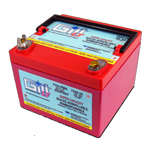 Gill BATTERY SEALED,LEAD ACID, Super Ah Capacity , 24V,16AH Part # 7242-16 by Gill Battery Start strong with the Gill 7246-20 is original equipment for your Air Tractor 402, 502, 602 and 802 series aircraft. Also compatible with Cessna 310, 400 and Piper PA-31 series. Product Type:Batteries Battery Type:Sealed Lead Acid Voltage:24V 7242-16