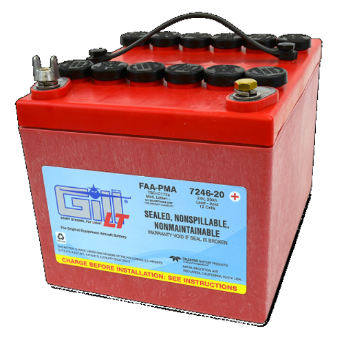 Gill® LT Valve Regulated Sealed Lead Acid Aircraft Battery Extreme Cranking Power , 24V, 20Ah / 7246-20 by Gill Battery Gill® Batteries are the original equipment aircraft battery. They offer the better performing sealed lead acid battery that is fast becoming the choice in a growing list of airframe manufacturers. Features: Sealed, Non-Spillable Valve-regulated lead-acid battery (VRLA) Weight: 45 lbs Electrolyte: Not needed Capacity: 1 hr (C1) 20 Ipp: 30 min (2C) 35 Ipr: N/A Benefits: Provides optimal power, fast recharge and superior life TSO Authorized 2 Year Warranty 18 Month/1800 Hour Capacity Check Inspection Specifications: FAA/PMA approved and tested to DO-160E standards