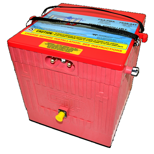 Gill® LT Valve Regulated Sealed Lead Acid Aircraft Battery Citation -W/ Temp sensor , 24V, 44Ah Part # 7638-44T by Gill Battery  Gill® Batteries are the original equipment aircraft battery. They offer the better performing sealed lead acid battery that is fast becoming the choice in a growing list of airframe manufacturers. Replace your Nickel-Cadmium (NiCad) to Lead Acid for your Cessna Citation. The Gill 7638-44T supports the following Cessna Citation models: 500, 501, 525, 525A, 525B, 525C, 550, 551, 560, S550, 560XL, 650, 680.  Features:  Sealed, Non-Spillable Valve-regulated lead-acid battery (VRLA) Weight: 85 lbs Electrolyte: Not needed Capacity: 1 Hr (C1) 44 Ipp: 30 Min (2C) 70 Ipr: 60 sec/0 deg F (CCA) 600 The 7638-44T is a 'sealed lead acid Battery alternative' to NiCad batteries for Cessna Citation Aircraft Built-In Temp Sensor, No Additional STC Hardware Required Maintenance Free - Shipped Fully Charged and No Electrolyte or Water Required Non-Spillable and Proven for Aerobatic Maneuvering 2 Year Factory Warranty After Installation Robust Starts, Higher Residual Power & Faster Re-Charge Times First Capacity Check Not Required Until 18 Months/1800 Hours Cost Competitive and Best Shelf Life in Lead Acid Chemistry Advanced Valve Regulated Lead Acid (VRLA) Design FAA/PMA Approved, TSO Authorized and Tested to DO-160E LT Series Batteries Are Fully Recyclable LT Series Batteries Ship Hazmat Exempt