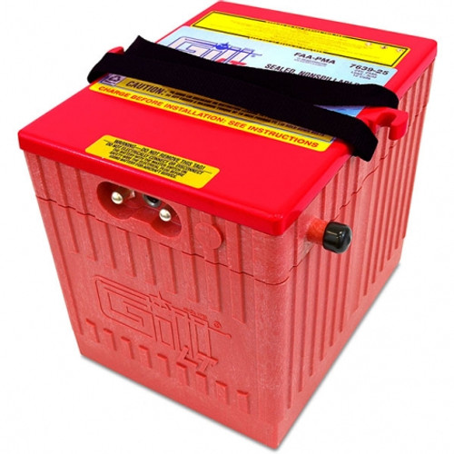 Gill® LT Valve Regulated Sealed Lead Acid Helicopter Use , 24V, 25Ah Part # 7639-25 by Gill Battery Gill® Batteries are the original equipment aircraft battery. They offer the better performing sealed lead acid battery that is fast becoming the choice in a growing list of airframe manufacturers. Gill Aircraft Batteries are manufactured in one of the most modern factories in the world. Aircraft batteries have FAA/PMA approval and are built under strict quality assurance procedures, ensuring a quality product that has become a standard in the aviation industry. Features: Sealed, Non-Spillable Valve-regulated lead-acid battery (VRLA) Weight: 60lbs Electrolyte: Not needed Capacity: 1 Hr (C1) 25 Ipp: 30 Min (2C) 40 Ipr: 60 sec/0 deg F (CCA) 400 Benefits: Provides optimal power, fast recharge and superior life 2 Year Warranty 18 Month/1800 Hour Capacity Check Inspection