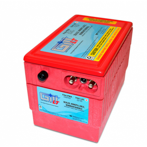Gill® LT Valve Regulated Sealed Lead Acid Battery Helicopter Use , 24V, 20Ah Part # 7641-20 by Gill Battery Gill® Batteries are the original equipment aircraft battery. They offer the better performing sealed lead acid battery that is fast becoming the choice in a growing list of airframe manufacturers. Gill Aircraft Batteries are manufactured in one of the most modern factories in the world. Aircraft batteries have FAA/PMA approval and are built under strict quality assurance procedures, ensuring a quality product that has become a standard in the aviation industry. Features: Sealed, Non-Spillable Valve-regulated lead-acid battery (VRLA) Weight: 44 lbs Electrolyte: Not needed Capacity: 1 Hr (C1) 20 Ipp: 30 Min (2C) 35 Ipr: 60 sec/0 deg F (CCA) 350 Benefits: Provides optimal power, fast recharge and superior life TSO Authorized 2 Year Warranty 18 Month/1800 Hour Capacity Check Inspection Specifications:FAA/PMA approved and tested to DO-160E standards Aircraft Applications:Bell: 206A, 206B, 206L, 206L-1, 206L-3 with STC SR01406LA McDonnell Douglas (Hughes) models: 369, 369A, 369H, 369HM, 369HS, 369HE, 369D, 369E, 369F,369FF, 500N, 600N with STC Kit SRO1427LA installed Schweizer Aircraft Corporation: 269D (333)
