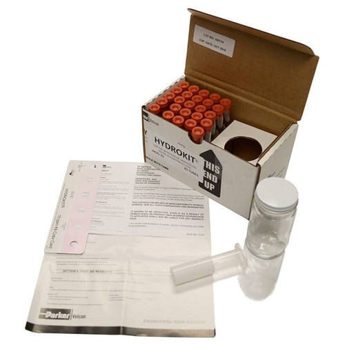 HK600-15 Parker Water in Fuel Test Kit Part #HK600-15By Parker Velcon Parker Velcon HK Series Water in Fuel Test Kit, 600-Test, 15 PPM, Water in Fuel Test Kit with Sample Tube/Wide Mouth Glass Sample Jar/Needle Holder Assembly/Instruction Card and Color Indicator Comparison Card. Manufacturer:Parker Velcon Product Family:HK Series Product Type:Water Detection Kit  Water in Fuel Test Kit; Item Test Kit; Number of Test 600; Volume 15 PPM; Includes Sample Tube, Wide Mouth Glass Sample Jar, Needle Holder Assembly, Instruction Card, Color Indicator Comparison Card