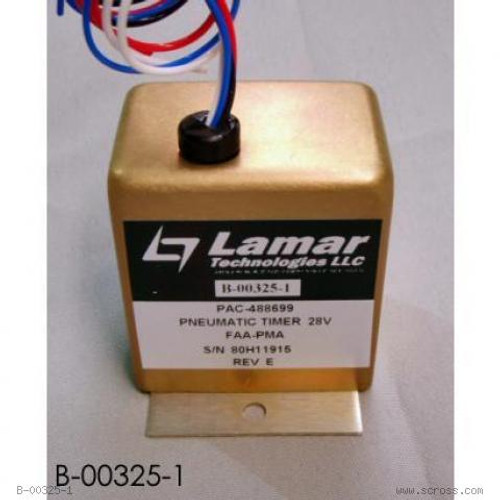 LAMAR TIMER, PNEUMATIC CONTROL 28V Part# B-00325-1 by Lamar Technologies   The Lamar B-00325-1 Timer is an FAA/PMA approved replacement for Piper 488-699 used on PA23 and PA31 series aircraft.