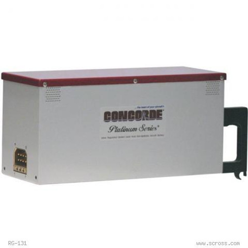Concorde® ARINC EMERGENCY BATTERY Part# RG-131 by Concorde Avionics Battery for lighting, standby, emergency power. Protects and extends the life of other avionics. Concorde Emergency Batteries float directly on the DC buss with no need for a dedicated charger. This results in a high inrush current which extends battery life with fast recovery time from discharge. With the battery floating directly on the buss, transient spikes in the DC power are absorbed. These batteries are self regulating on charge and will take only the current required to maintain it at full charge. Recombinant Gas - The RG® Series are low resistance, valve regulated lead acid (VRLA) batteries.