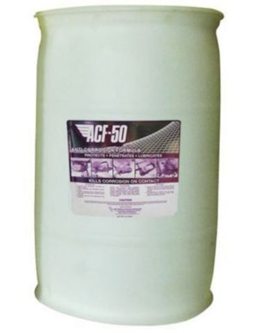 Lear Chemical Research ACF-50® Lubricant Purple 114 L Drum pail Part# 10114 by Lear Chemical. Lear Chemical Research ACF-50® anti-corrosion lubricant is purple in color and has 90 grams per liter VOC contents that evaporate without leaving any residues or stains. The liquid anti-corrosion lubricant has a flash point of 79.4 degrees C, specific gravity of 0.9 and a boiling point greater than 100 degrees C. This product has a kinematic viscosity of 25 centistokes at 40 degrees C. The anti-corrosion lubricant has an aromatic odor and comes in a 114 L Drum. It has an auto-ignition temperature rating greater than 210C degrees C.