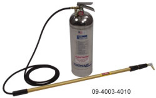 TRONAIR Deicer, Hand Carried 2.50 GL Part# 09-4003-4010 by Tronair 4 to 10.5 ft (1.2 to 3.2 m) telescoping wand assembly Adjustable nozzle allows spray angle control 100 psi (6.9 bar) maximum air pressure Certified pressure gauge indicates safe range Tank handle acts as shut-off valve 9 lb (4 kg) empty weight