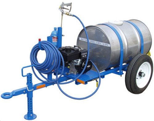 Tronair Mobile Deicer Cart 55 gal Type I Fluid only, 240VAC, 3PH(CE) Part# 09-6200-0010 by Tronair The Tronair 09-6200-0010 deicer is intended to remove frost, ice, and snow from aircraft surfaces using any approved deicing fluid (Type 1). Follow deicing fluid manufacturer's instructions for temperature and application techniques. This deicer unit is trailer mounted and has a 55 gallon capacity tank. The seven (7) gpm delivery pump is powered by a 6.5 horsepower Briggs and Stratton gasoline engine. The deicer has an insulated spray gun with a 50 foot hose. Heating of the deicing fluid is accomplished by an immersion heater with adjustable temperature control and waterproof NEMA 4 box.