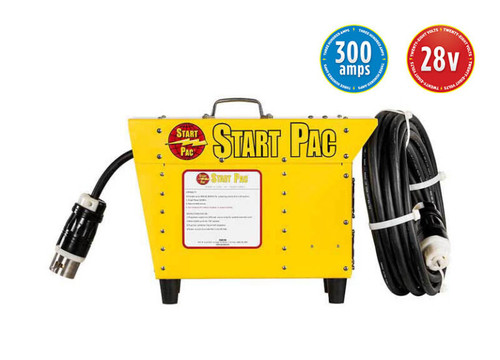 START PAC® PORTABLE POWER SUPPLY 28.5V DC 300 amps Max Part# 53300 by START PAC® This START PAC® model has been designed to power up 24 Volt aircraft systems and will continuously deliver up to full 300 amp DC output. The voltage output is set to 28 Volts to simulate the same voltage as when the aircraft is running under power. This START PAC® unit has been specifically designed for maintenance and to power up various functions such as inverters, avionics, GPS programming and on-board air conditioning, etc. Using this START PAC® power supply means that the operator can bypass the aircraft battery thus preserving it from unnecessary wear. The on board aircraft battery can be conserved for starting only. The environmentally responsible, low VOC powder coating protects the unit from wear, tear and poor weather conditions.