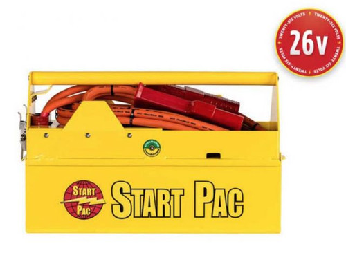 START PAC® PORTABLE STARTING UNIT - 26V DC Part# 2326QC by START PAC® Reliable, sturdy and compact, the patented 2326QC is for engine starting only. With its built-in chargers, power plug and cables, this 26V air portable/carry-on START PAC® has been designed for voltage sensitive aircraft that cannot accept a true 28V external starter. THIS UNIT IS NOT DESIGNED FOR BATTERY CHARGING This START PAC® will provide a faster and cooler engine start than most ship's aircraft batteries (the turbine is spooled to more revolutions per second before fuel is injected). Thus, turbine life will be extended because there is less stress on the starter and other engine components. This will preserve the aircraft's costly batteries and help lower operating costs. Your on-board battery can then be saved for emergency use only. This portable starting unit can be used at home base and in the field; it will start any turbine or piston engine. Indeed, it will secure all your engine starts, preventing you from experiencing any downtime, even in remote locations. This patented START PAC® unit has separate removable batteries that can be changed in less than one minute (no tool necessary). This unique feature allows the user to switch the batteries in the field without needing to return the unit to the shop or manufacturer for battery replacement; it's virtually maintenance free. Additionally, certain aircraft will allow the ship's generator to back charge a GPU. In this manner, the START PAC® unit can be recharged in the field indefinitely without an AC source. The environmentally responsible, low VOC powder coating protects the case of the unit from wear, tear and poor weather conditions. Additionally, an all-weather accessory is also available as an option to protect it further from inclement weather ensuring maximum performance and product life.