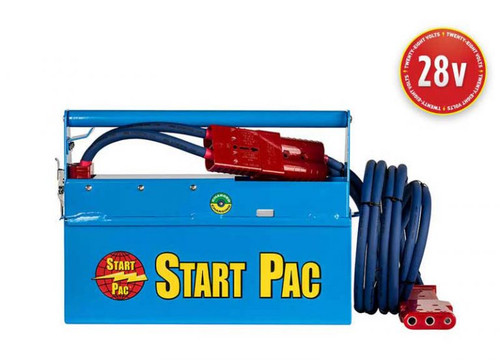 START PAC® Mobile 28V 2400A Lithium Aircraft Engine Starting Unit Part# Li2000QC by START PAC®  Providing superior starts on small to medium size turbine engines – both aeroplanes and helicopters – this compact, portable Lithium-ion starting unit with built-in charger is a full 28VDC battery pack. Capable of starting any turbine or piston engine, lithium technology is the lightest available on the market, which makes this lithium GPU ideal to preserve payload when the unit is being carried out in the field.  This patented START PAC® unit will provide a faster and cooler engine start than most ship's aircraft batteries (the turbine is spooled to more revolutions per second before fuel is injected). Thus, turbine life will be extended because there is less stress on the starter and other engine components. This will preserve the aircraft's costly batteries and help lower operating costs. Your airborne, on-board battery can then be saved for emergency use only.  With separate removable batteries that can be changed in less than one minute (no tool necessary), this unique feature allows the START PAC®'s user to switch the batteries in the field without needing to return the unit to the shop or manufacturer for battery replacement; it's virtually maintenance free. Additionally, certain aircraft will allow the ship's generator to back charge a GPU. In this manner, the START PAC® unit can be recharged in the field indefinitely without an AC source.