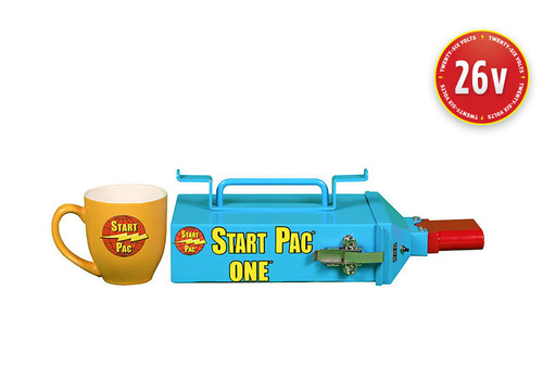 START PAC® Handheld 26V 1800A Lithium Aircraft Starting Unit Part# START PAC ONE by START PAC® The smallest and lightest 26V micro starting unit for aircraft on the market, this light duty air portable/carry-on START PAC® Lithium-ion weighs only 12lbs/5.4kg. Providing emergency starts for turbine or piston engines, this unit is designed for engine starting only. Designed to be used with voltage sensitive aircraft that cannot accept 28V external starters, this START PAC ONE jump-starting system is small but mighty. This START PAC® will provide a faster and cooler engine start than most ship's aircraft batteries (the turbine is spooled to more revolutions per second before fuel is injected). Thus, turbine life will be extended because there is less stress on the starter and other engine components. This will preserve the aircraft's costly batteries and help lower operating costs. Your on-board battery can then be saved for emergency use only. As it's super portable, this starting unit can be carried on-board easily and it comes into its own when out in the field, securing all your engine starts and ensuring that you don't experience any downtime, even in remote locations. Certain aircraft will also allow the ship's generator to back charge a GPU. In this manner, the START PAC® can be recharged in the field without an AC source indefinitely. Once back at home base, it can also be used as a light duty jump starter. Virtually maintenance free, this lightweight solution is unique in that it addresses requirements across civil, commercial and military markets. The START PAC ONE Jump Starting System can be used for helicopters and fixed wing aircraft as well as military UAVs. The environmentally responsible, low VOC powder coating protects the case of the unit from wear, tear and poor weather conditions. Additionally, the START PAC ONE comes standard as a complete set with a patent pending aircraft cable adaptor kit, proprietary external charger and carrying case.