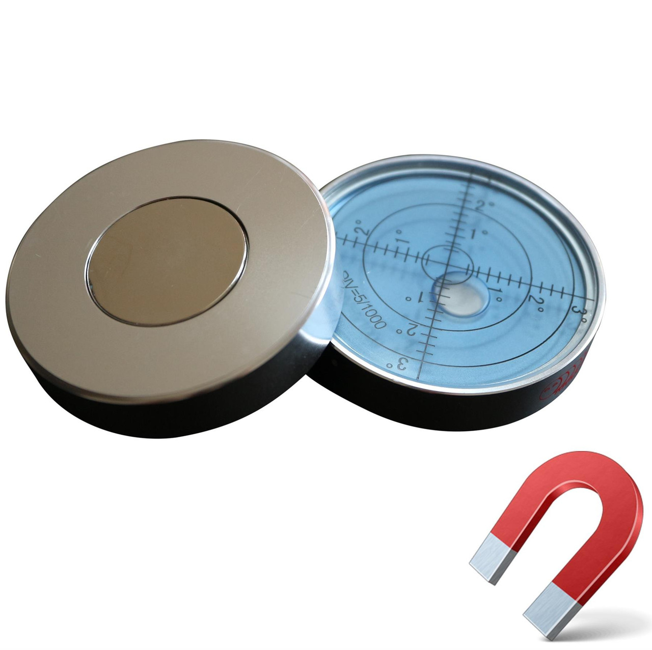 Green//Black Circular Metal Housing Surface Level Magnetic Metal Large Spirit Bubble Level 60mm Diameter Degrees Bulls Eye Bullseye Vial Round