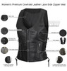 Vance VL1029 Women's Black Lace Side Zipper Pocket Premium Cowhide Leather Biker Motorcycle Vest - Infographics