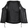 Vance VL1029 Women's Black Lace Side Zipper Pocket Premium Cowhide Leather Biker Motorcycle Vest - Open View