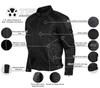 Advanced Vance VL1623B Mens All Weather Season CE Armor Mesh Motorcycle Jacket - Infographics