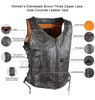High Mileage HML1029DB Women's Vintage Distressed Brown Lace Side Zipper Pocket Premium Cowhide Leather Motorcycle Vest - Infographics