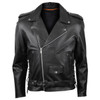 Vance VL515TG Mens Premium Cowhide Conceal Carry Insulated Liner and Side Laces Classic MC Motorcycle Biker Black Leather Jacket - front