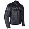Vance VL535S Men's Black Reflective Skull Leather Biker Motorcycle Riding Jacket - Side View