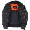 Vance VL535S Men's Black Reflective Skull Leather Biker Motorcycle Riding Jacket - Inside View